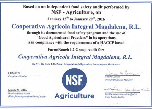 Good Agricultural Practices Certificate