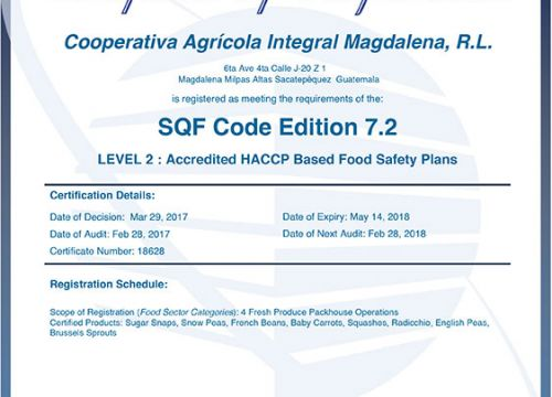 Level 2: Accredited HACCP Based Food Safety Plans